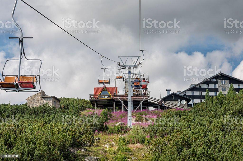 Mountain ski chair lift royalty-free stock photo