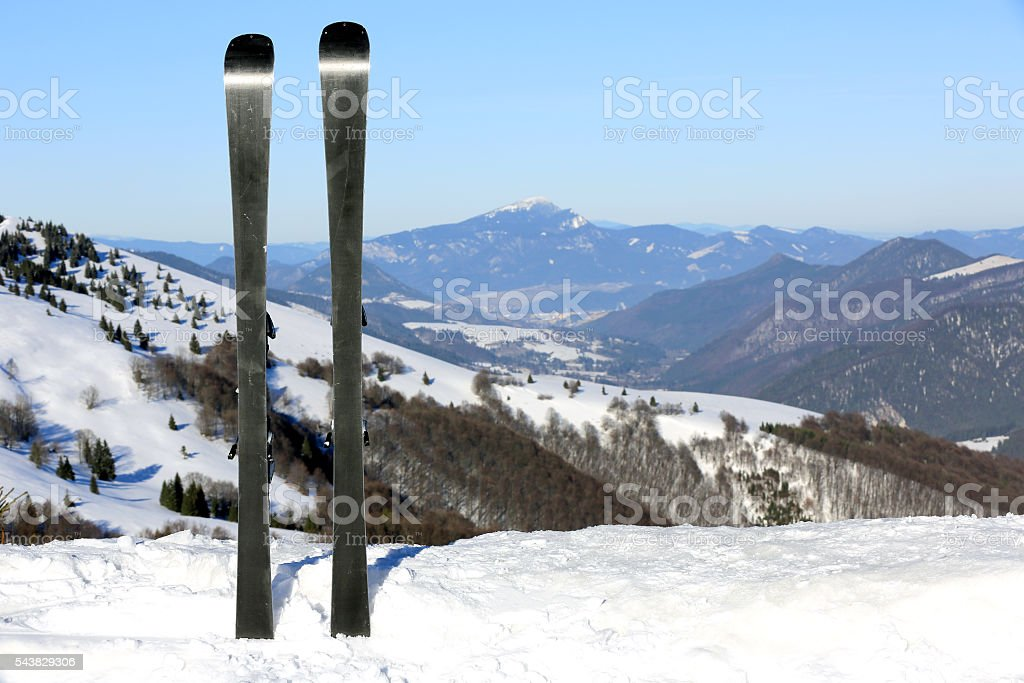Mountain ski in snow stock photo