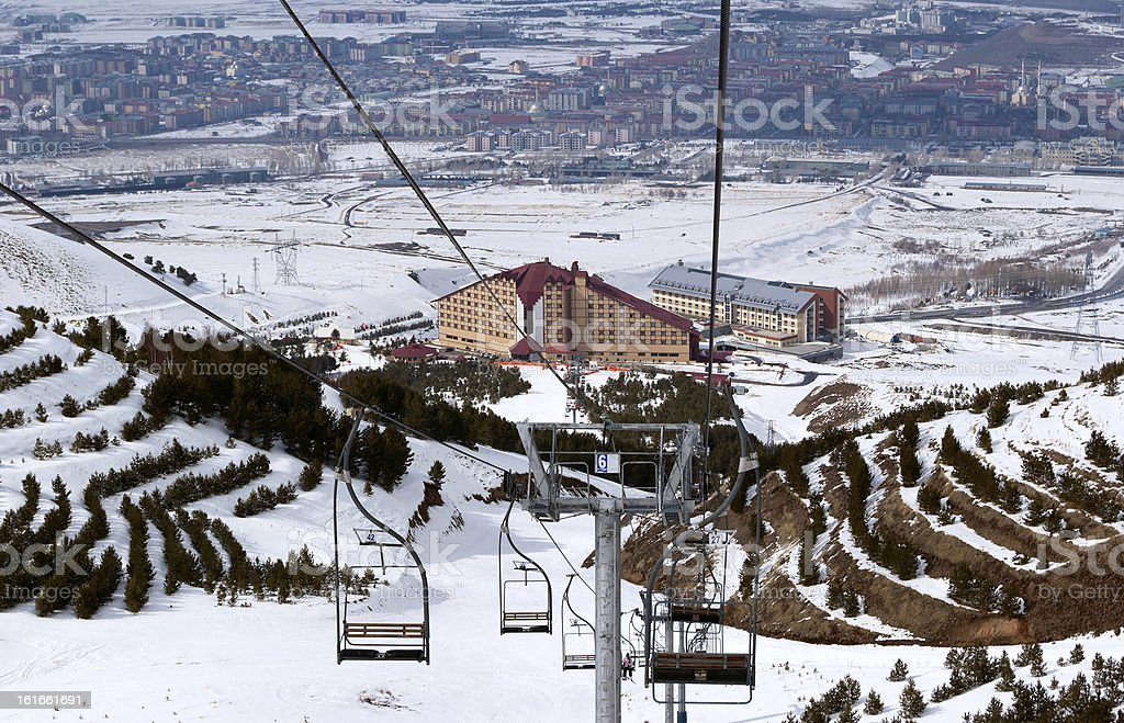 Mountain ski resort Palandoken Turkey royalty-free stock photo