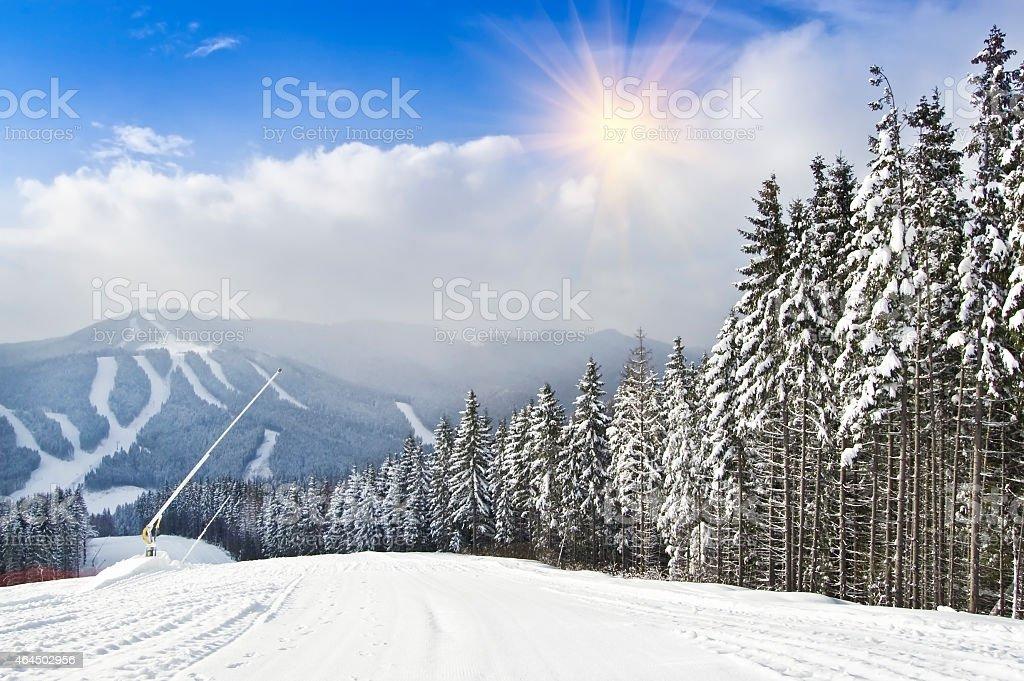 mountain ski resort stock photo