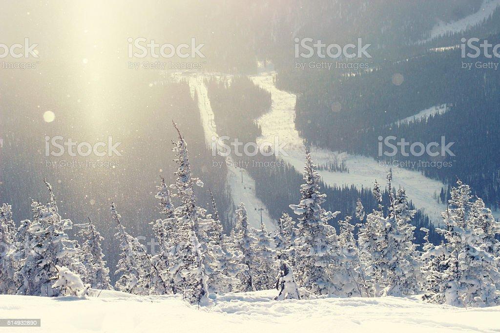 Mountain ski resort Sheregesh, Russia stock photo