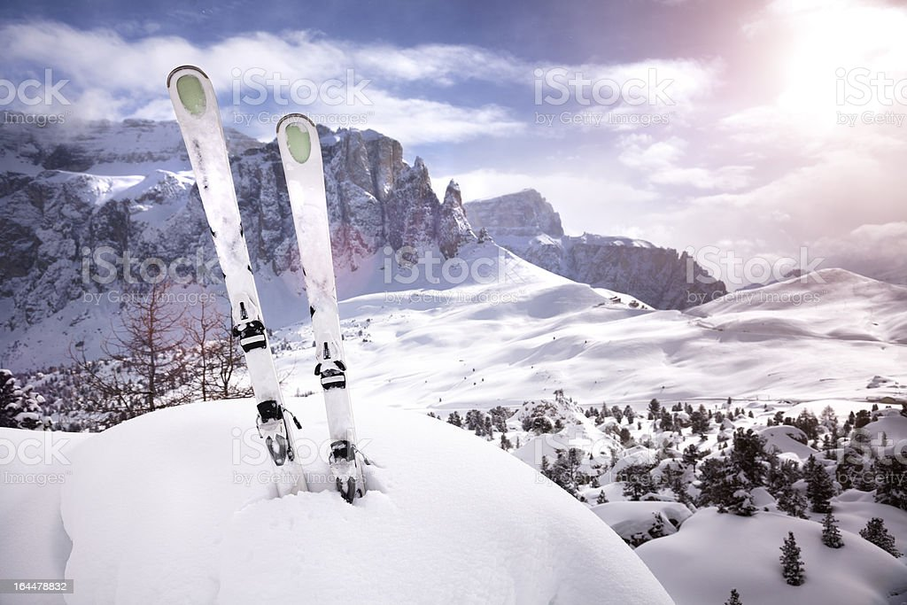 Mountain ski sunset stock photo