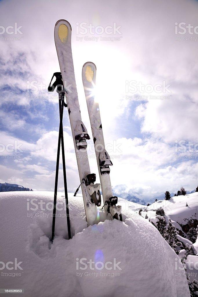 Mountain ski sunset royalty-free stock photo