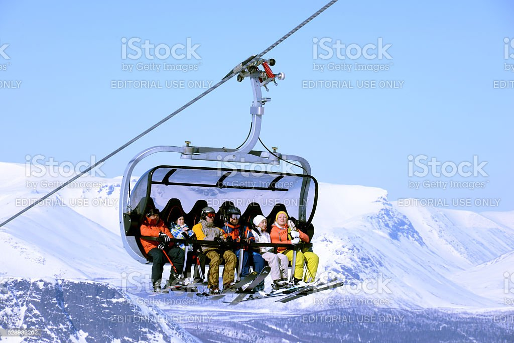 Mountain skiers  in the cabin in  snow mountains stock photo