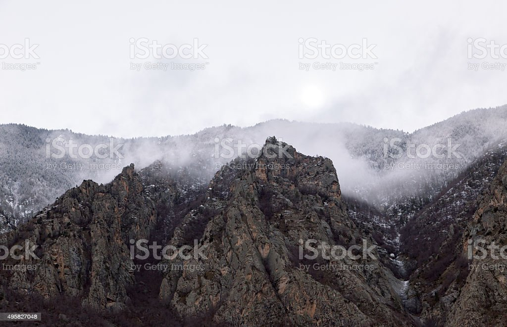 Mountain Snow and Fog stock photo