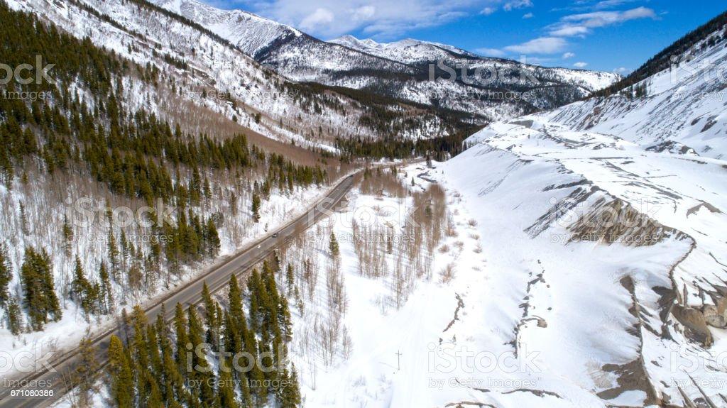 Mountain Snow Highway Aerial View Winter Season Sunny Weather stock photo
