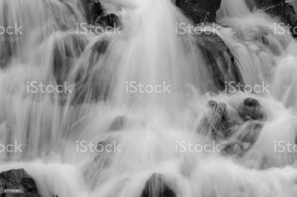 Mountain Spring Waterfall in Black and White royalty-free stock photo