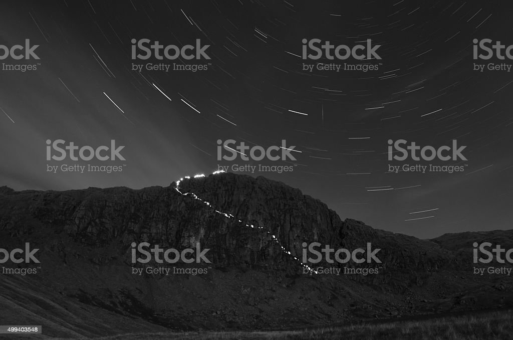 Mountain star trails stock photo
