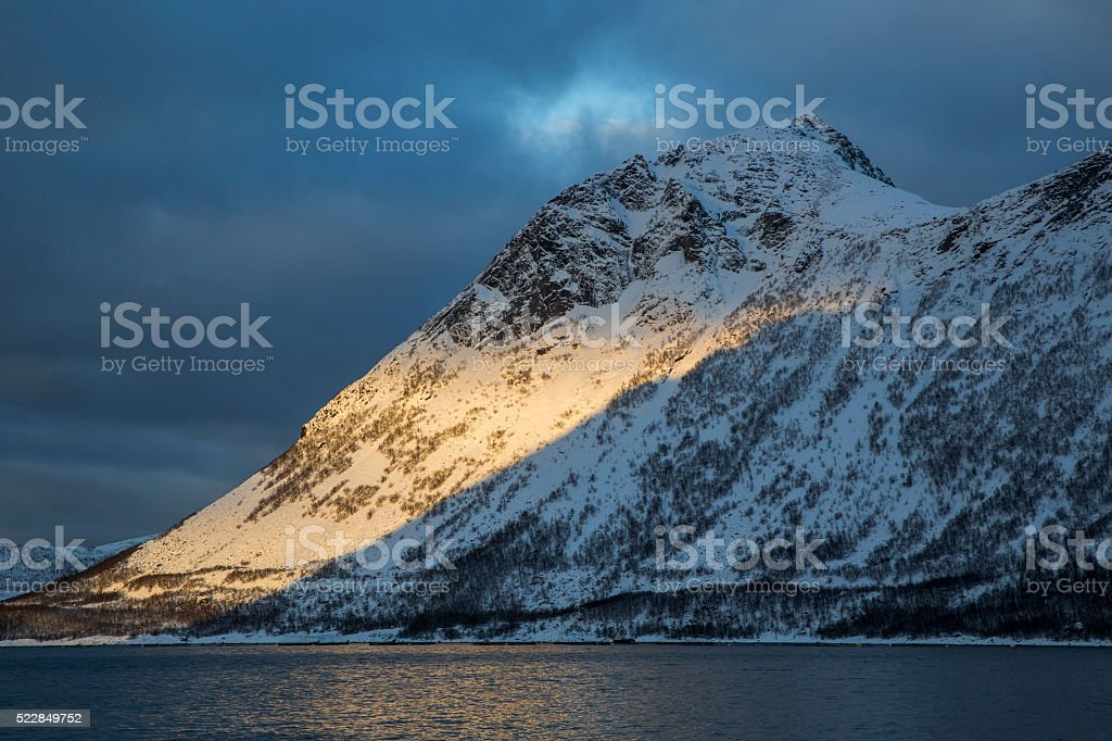 Mountain Stauren in Gryllefjord stock photo