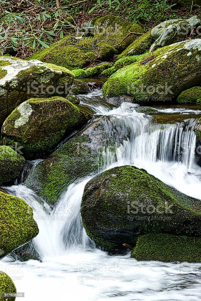 Mountain Stream and Moss Covered Rocks stock photo