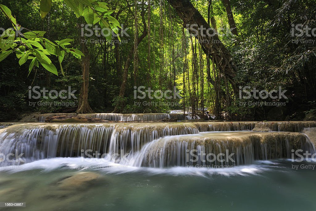 Mountain stream at deep forest waterfall royalty-free stock photo