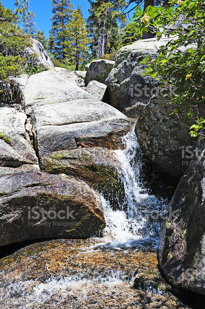 Mountain Stream flowing over Bolders stock photo