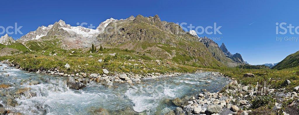 Mountain stream green summer valley snow Alpine peaks panorama royalty-free stock photo
