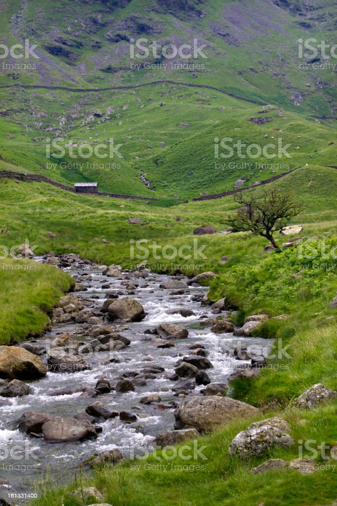 Mountain stream, hut, dry stone walls, Haweswater, Cumbria, UK stock photo