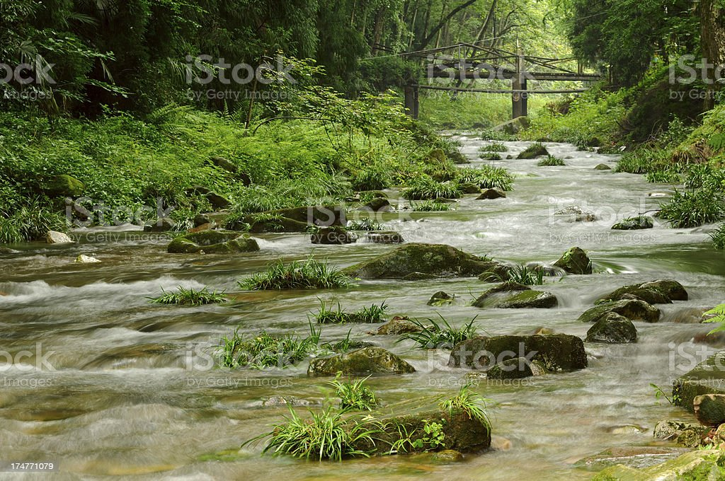 Mountain stream in China stock photo