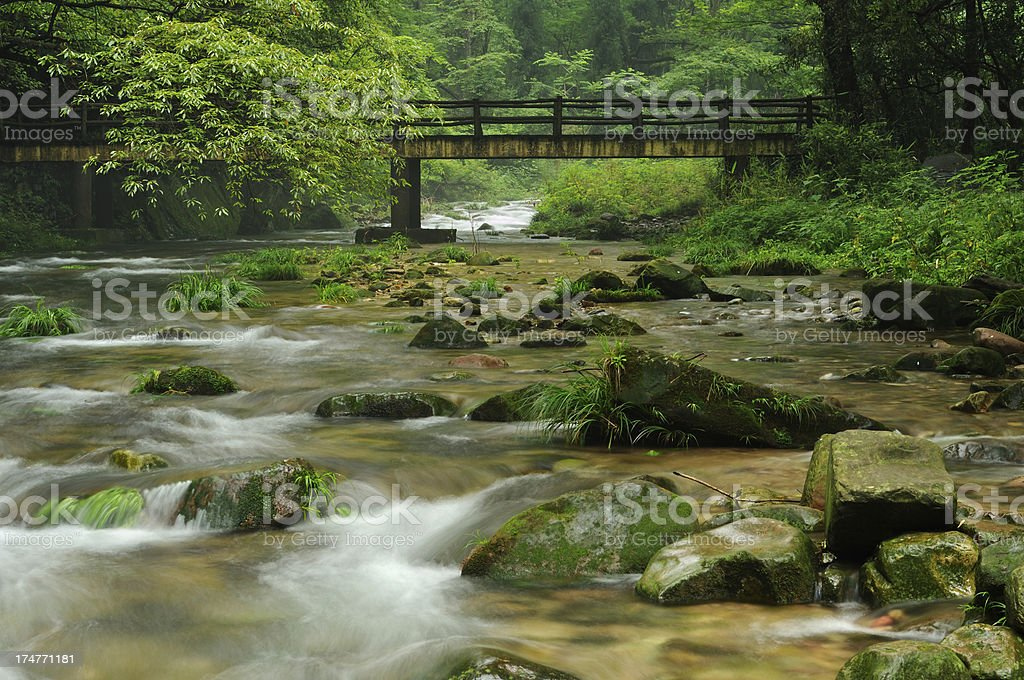 Mountain stream in China royalty-free stock photo