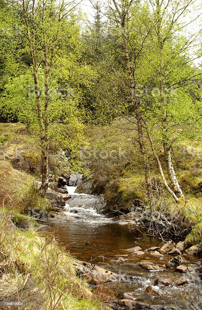 mountain stream in Glen Lyon stock photo
