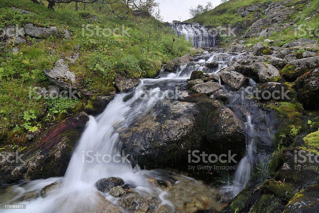 Mountain stream in Khibiny Mountains stock photo