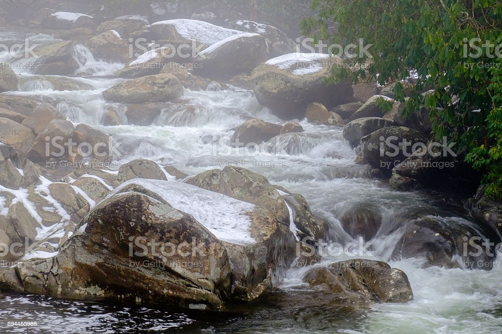 Mountain stream in winter stock photo