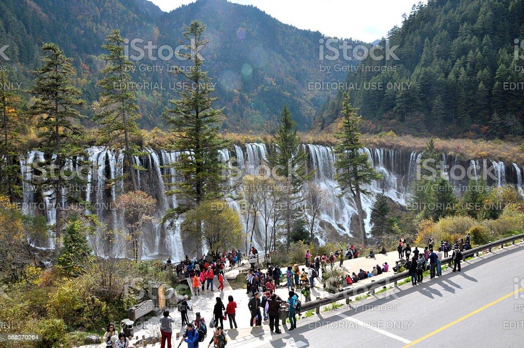 Mountain stream waterfall at Jiuzhaigou stock photo