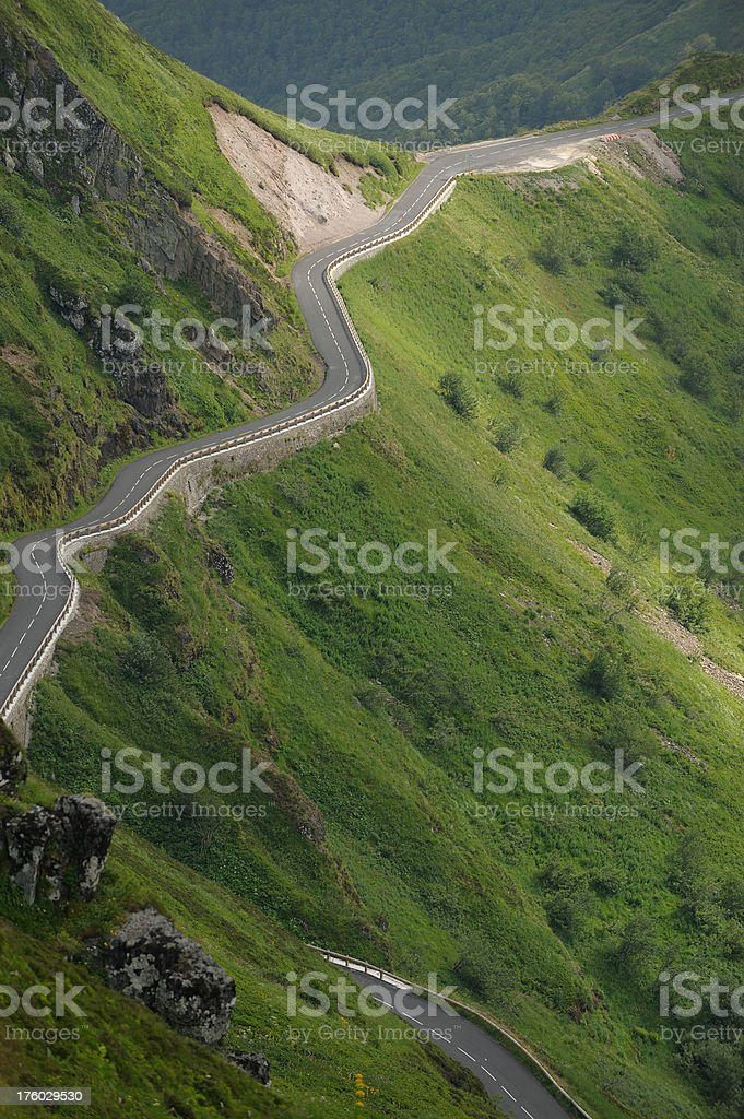 mountain street in Auvergne, France stock photo