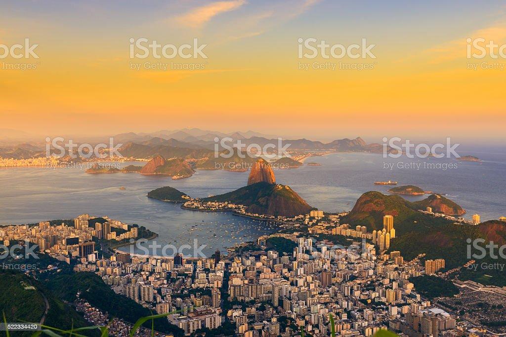 Mountain Sugar Loaf and Botafogo in Rio de Janeiro. Brazil stock photo