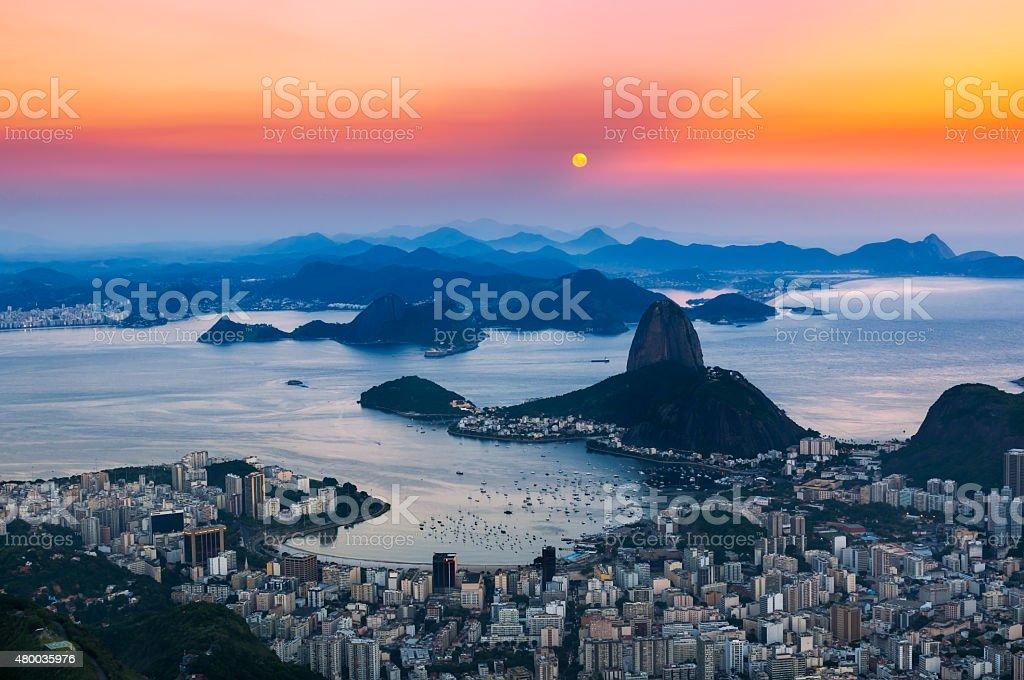 Mountain Sugar Loaf and Botafogo in Rio de Janeiro stock photo