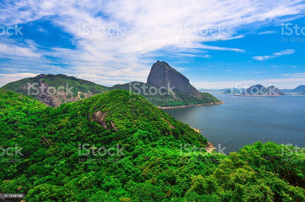 Mountain Sugar Loaf and Guanabara bay in Rio de Janeiro stock photo