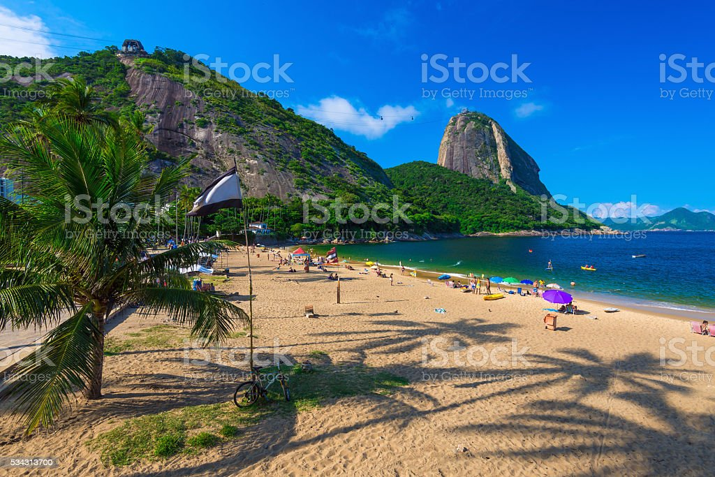 Mountain Sugar Loaf and Vermelha beach in Rio de Janeiro stock photo