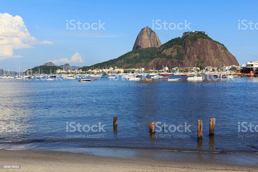 Mountain Sugarloaf and Guanabara bay, Rio de Janeiro stock photo