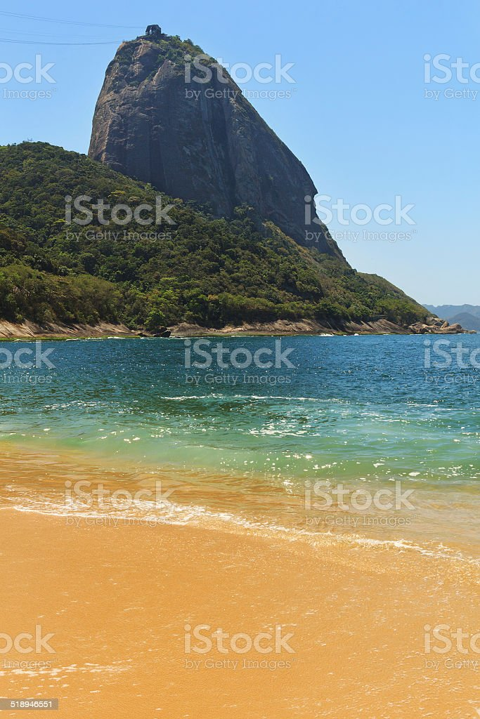 Mountain Sugarloaf empty red beach blue sea, Rio de Janeiro stock photo
