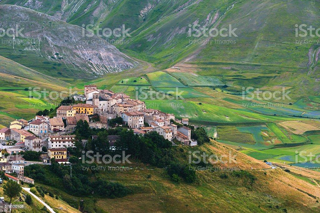 Mountain summer in Umbria landscape, Italy. Castelluccio di Norc stock photo