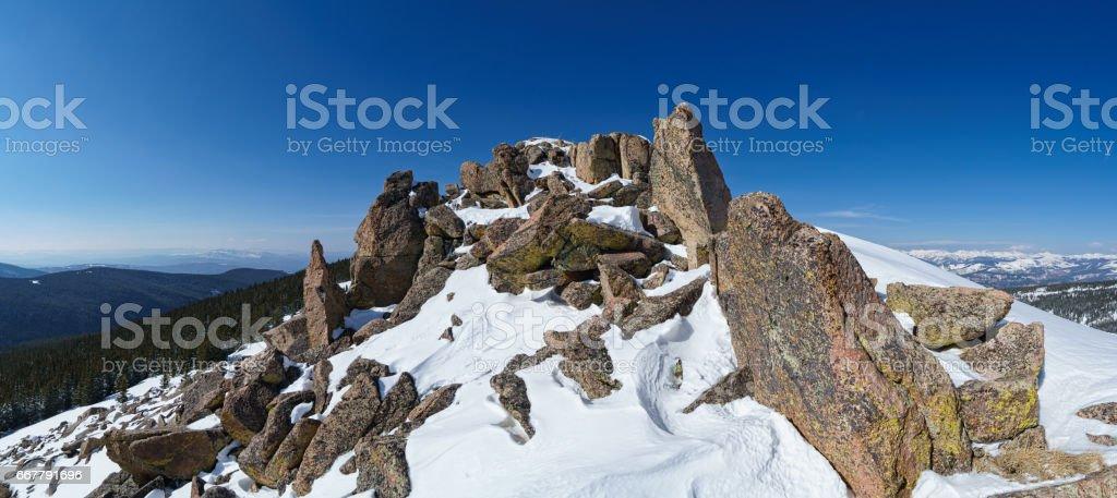 Mountain Summit Peak with View of Gore Range Colorado stock photo
