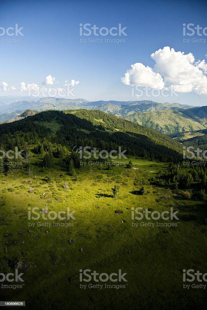 Mountain sunrise, aerial view royalty-free stock photo
