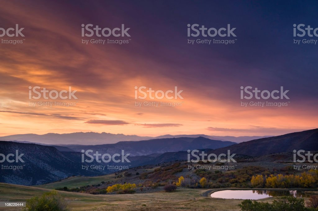 Mountain Sunrise Landscape in Fall Splendour royalty-free stock photo