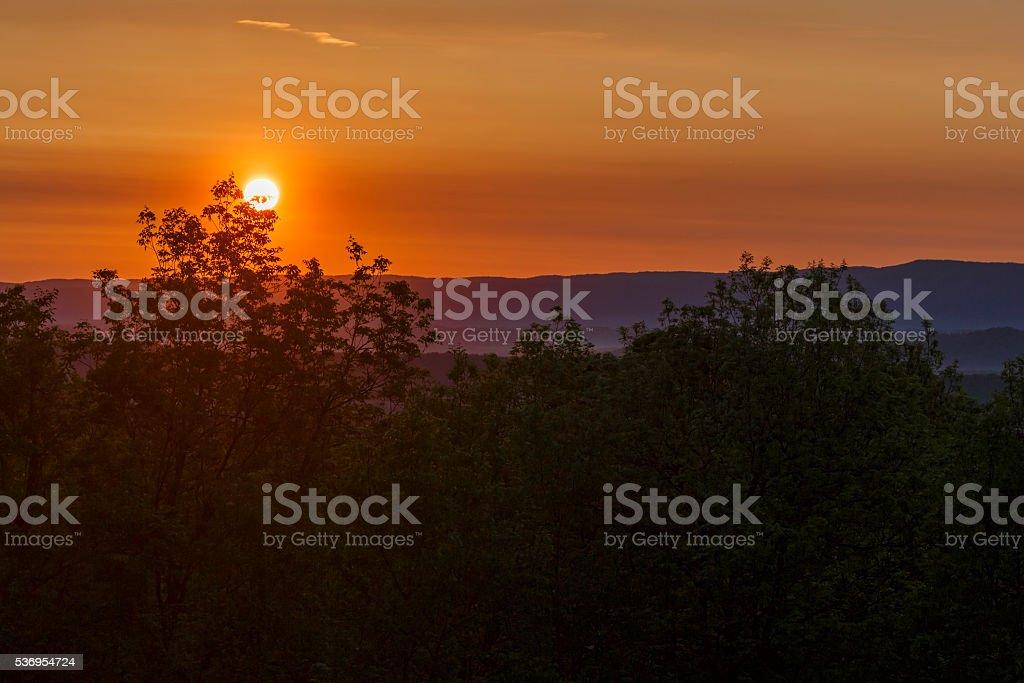 Mountain Sunrise--Blue Ridge Mountains stock photo