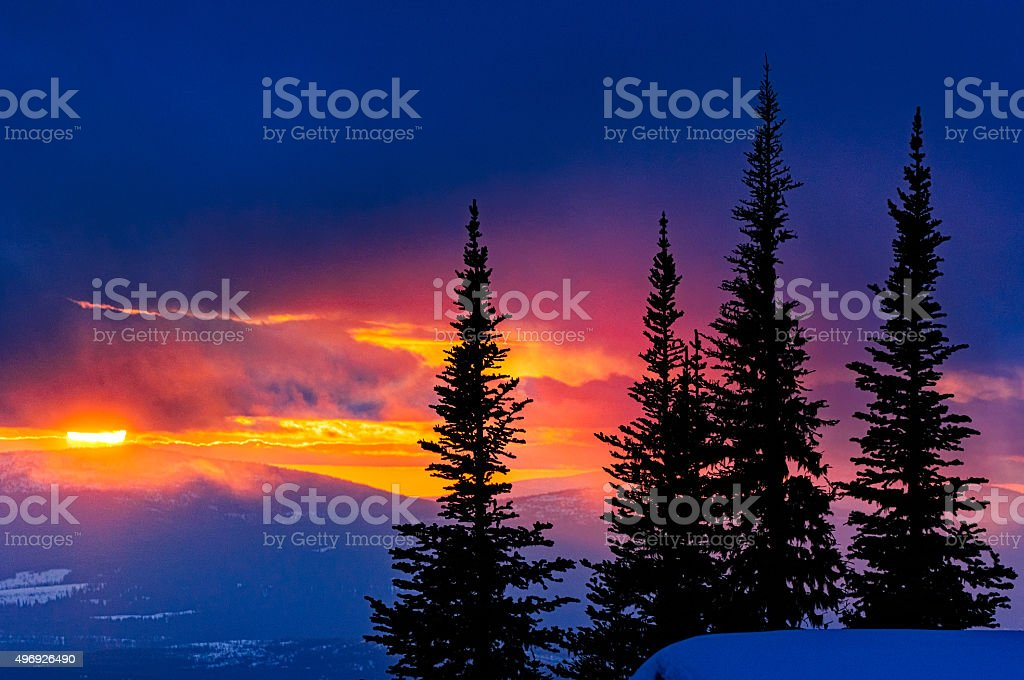 Mountain Sunset Canada stock photo