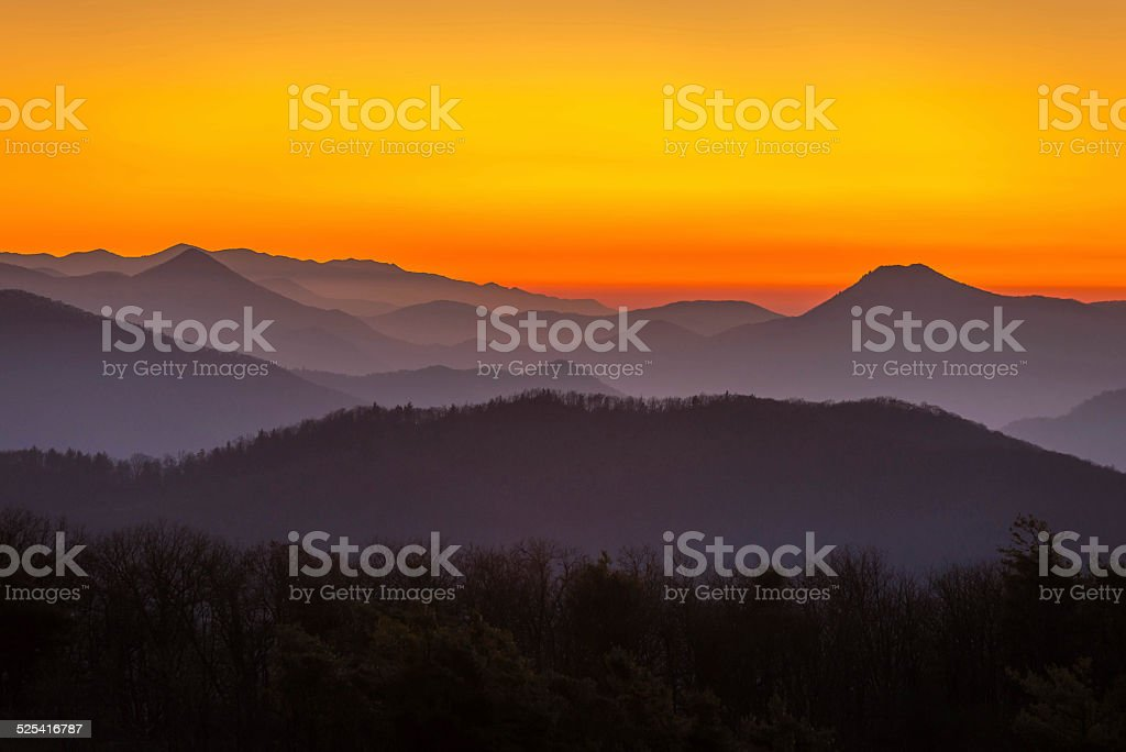 Mountain sunset in Tennessee stock photo