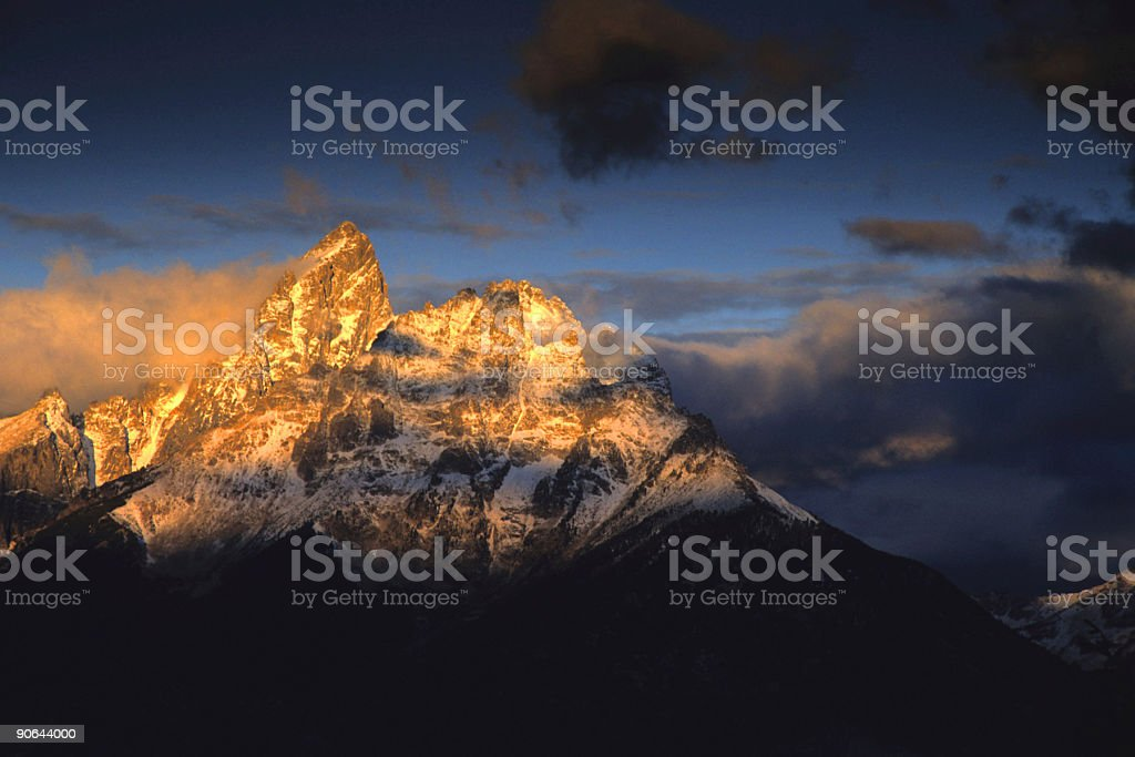 mountain sunset landscape stock photo