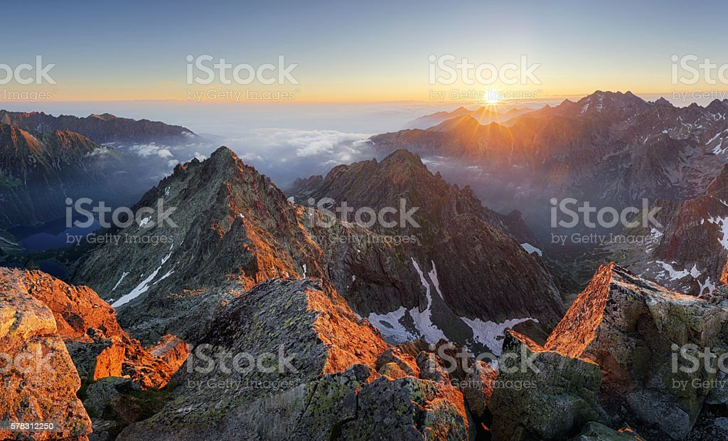 Mountain sunset panorama landscape in Tatras, Rysy, Slovakia stock photo