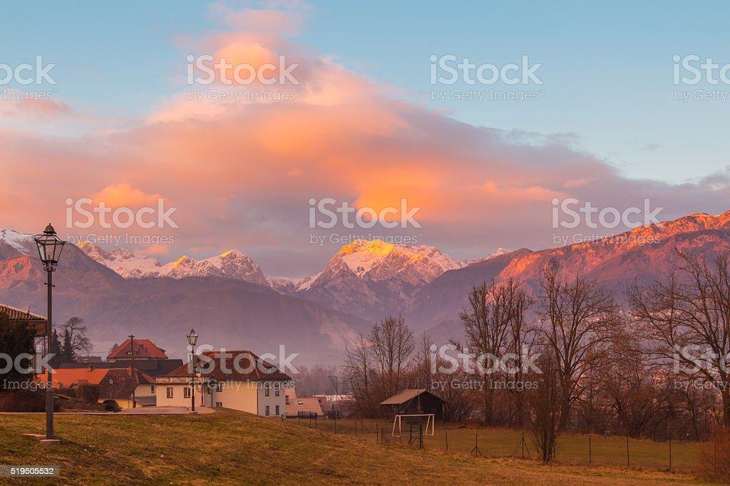 Mountain sunset. stock photo