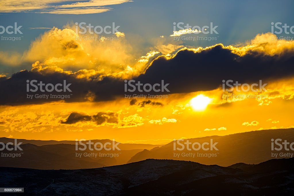 Mountain Sunset Scenic View stock photo