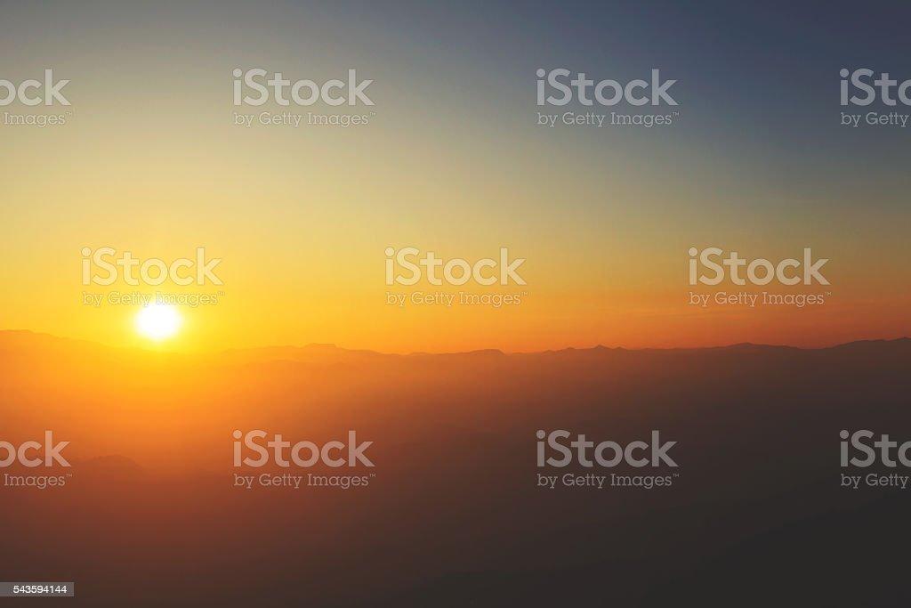 Mountain sunset vintage tone stock photo