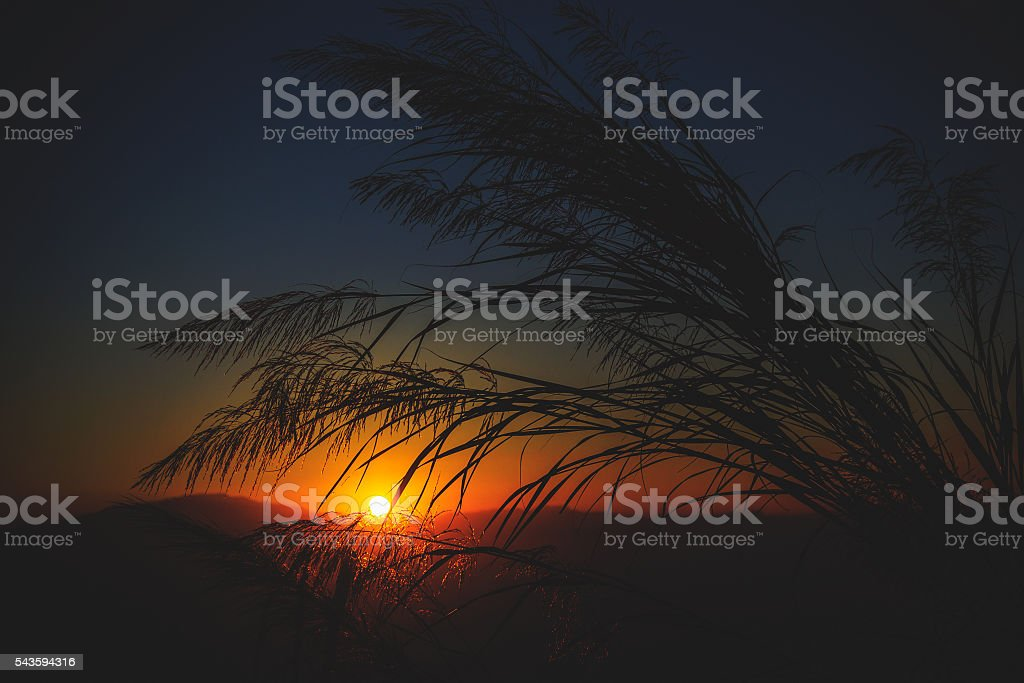 Mountain sunset vintage tone stock photo