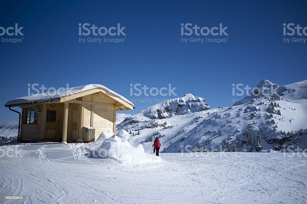 Mountain Top Ski Hut stock photo
