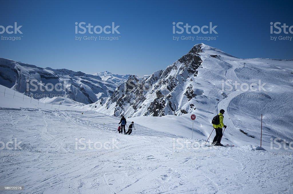 Mountain Top Skiing stock photo
