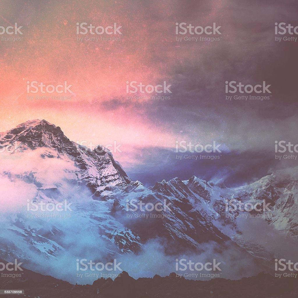 Mountain tops of Himalayas stock photo