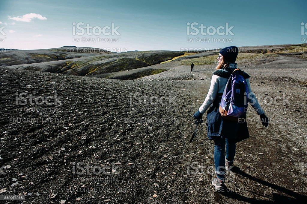 Mountain tourist In Iceland stock photo