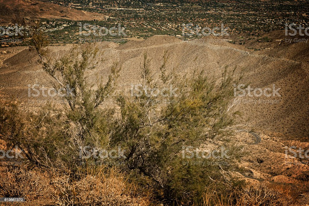 Mountain Town In California High Desert At Golden Hour stock photo