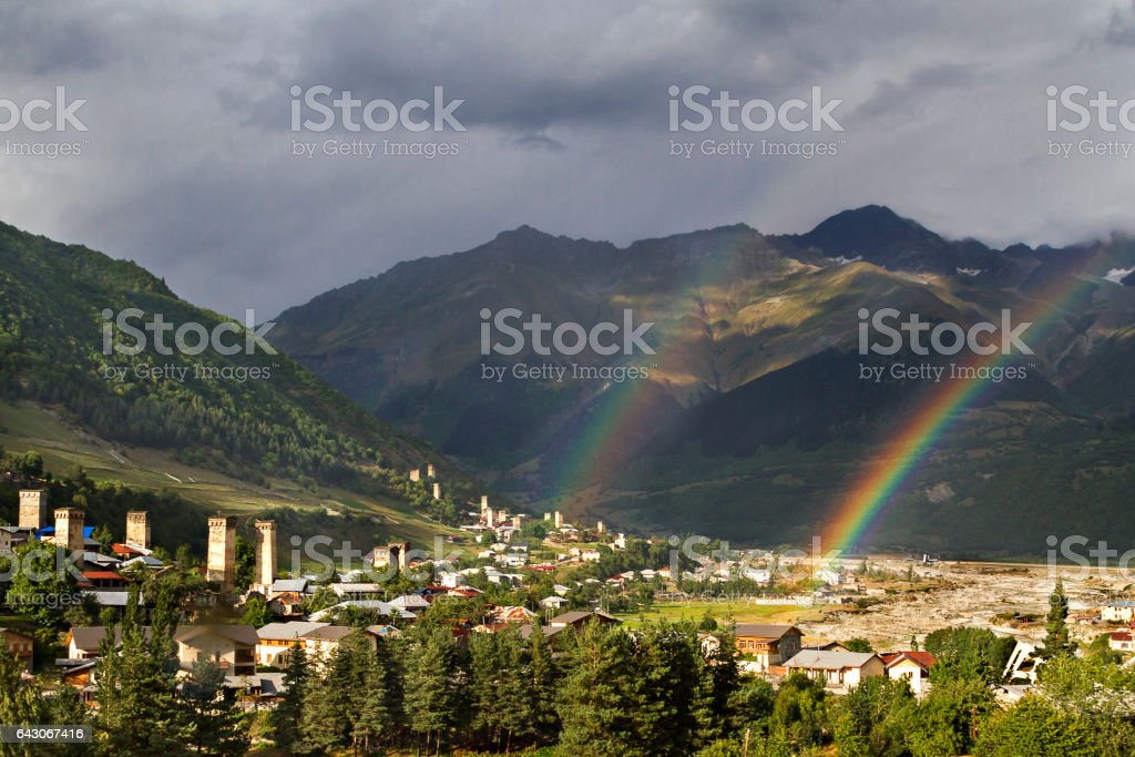 Mountain town of Mestia and its medieval towers in the Caucasus Mountains, Georgia. stock photo